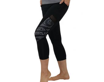 Samoan and Maori Fusion Tattoo Crop Yoga Pants with Mesh inserts - Malosi Collection