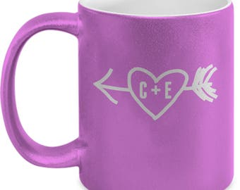 Heart Arrow Custom Initials - High Quality Cute Metallic Pink & Black Ceramic 11 oz Mug - Love Valentine's Day Mom Wife Girlfriend Gift