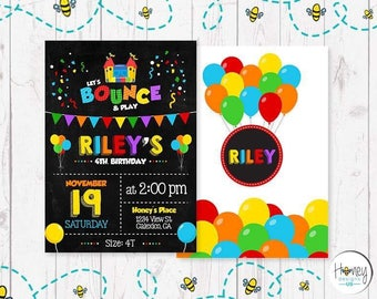 Bouncing House, colorful, birthday, party, boy, girl, balloon, digital, invite, celebration.