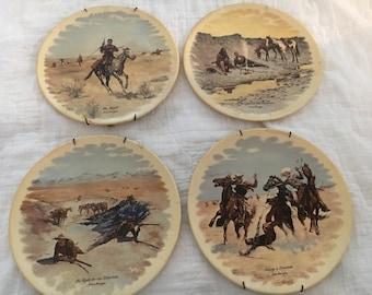 Frederic Remington Western 4 Plate Set