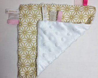 Graphic gold and white minky taggy blanket