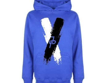 Jake Paul black/white X Graphic Royal Blue Hoodie Team 10, Kids Girls Youth & Adults top sweater