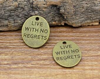 35pcs Antique Bronze Live With No Regrets Charms Pendant 15x13mm C2776-T