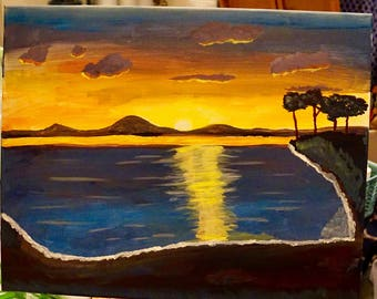 Sunset by the bay painting