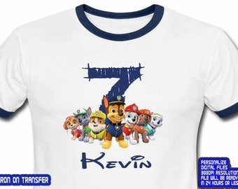 Paw Patrol, Paw Patrol Birthday Shirt, Paw Patrol Iron On Transfer, Paw Patrol Shirt, Boy Birthday Shirt DIY, Personalize Name, Digital File
