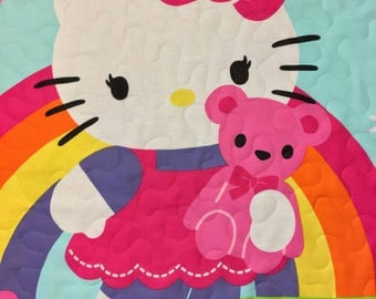 Hello Kitty Baby Quilt Crib Blanket or Wall Art