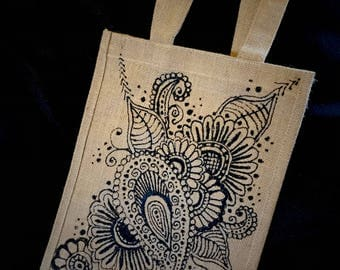 Hand-painted hessian shopping bag