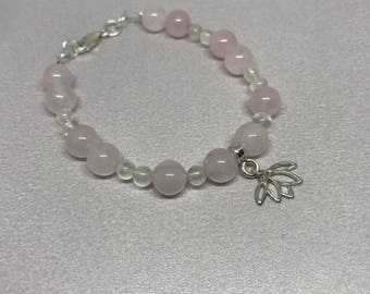 Rose Quartz and White Moonstone Gemstone and Sterling Silver Lotus Flower Beaded Charm Bracelet