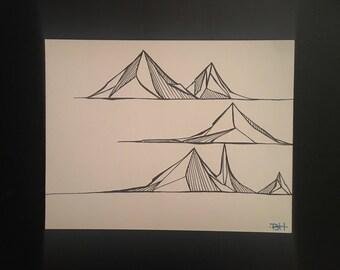 Three mountain black and white