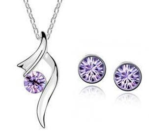Jewelry Set Necklace & stud earrings * Silver Purple