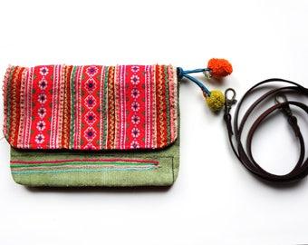 Pink Hippie Purse, Embroidered Shoulder Bag, Crossbody Bag, Floral Bag, Ethnic Boho Clutch Purse, Gipsy Bag, Pom Pom Clutch, Gift for Her