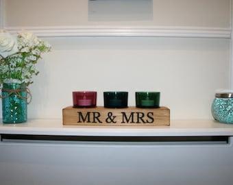 Rustic Tea Light Mr & Mrs Wedding