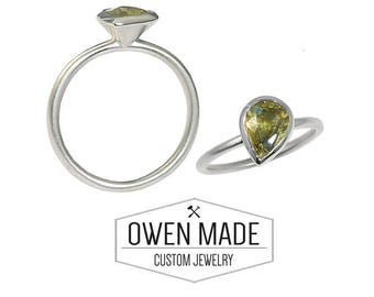 14K White Gold Ring with an Olive Green Sapphire