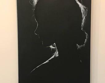Beautiful girl women present black and white monochrome oil on canvas Original wall art Minimalism Light Profile Portrait mysterious