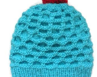 Newborn Baby Hat Knit hat for babies Knitted baby hat with pom-poms Pom Pom Newborn hat Infant spring hat  Turquoise knit hat Newborn gifts