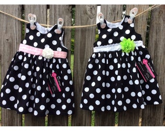 BABY GIRL DRESS, girl dress, special occasion, birthday, party girl, pink, black/white spot,summer,flower,size 1, handmade