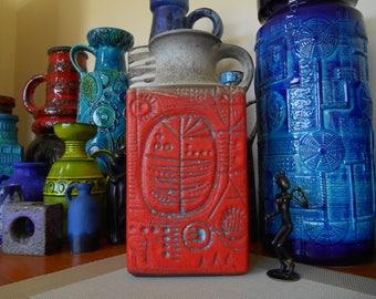 "Carstens vintage 1960's vase, super rare ""prehistoric"" abstract design, West German fat lava era lounge dining kitchen bar office pottery"