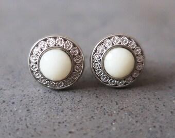 Vintage Button Earrings, Handmade Earrings, Stud Earrings, Silver Earrings, Statement Earrings, Pearl Earrings, Mother Gift, Gifts for Her
