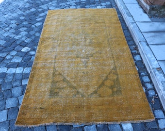Overdyed Rug Free Shipping Yellow Rug 4.1 x 7.6 ft. handknotted turkish rug, anatolian wool rug, hall area rug, rustic area rug, MB308