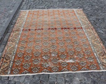 Flowered design turkish rug 6.2 x 7.3 ft. Free Shipping oversize oushak rug, bohemian floor rug, anatolian hall rug, orange color rug MB488
