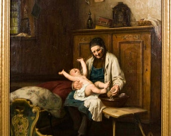 August MULLER Painting Oil on Canvas Washing the Baby Listed Artist 19th c.