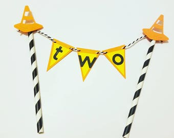 Construction theme cake topper, boy birthday, boy cake topper, caution cake topper, two cake topper