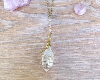 Wire wrapped crystal quartz with rose quartz beads pendant