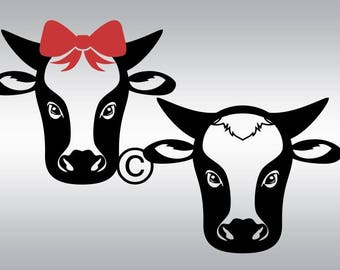 Cow svg, Cow clipart, Cow silhouette, Cow head svg, Farm animal svg, Farm svg, Farmhouse svg, Country svg, SVG, DXF, eps, png, pdf, Rodeo