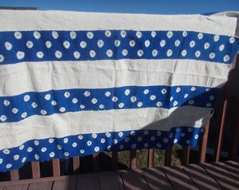 Authentic African Mud Cloth Royal Blue and White Contemporary