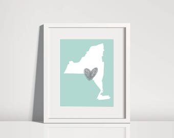 New York State Outline Print