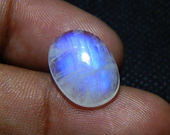 6.5 Cts 100% Natural Rainbow Moonstone Cabochon Oval Shape Smooth AAA Quality Loose Gemstone Blue Flash Fire Size 16x12x4 mm N#895-29