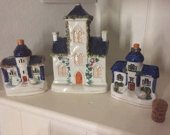 A collection on three Staffordshire Flatback Houses, circa 19th century