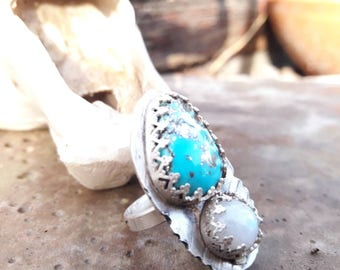 Sterling silver Turquoise and moonstone ring