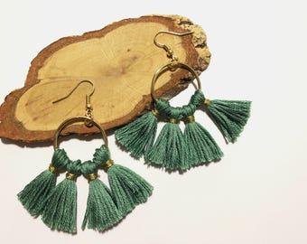 Green Hoop Tassel Earrings