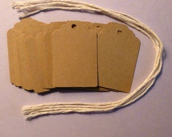 """100 kraft scalloped top tags 1.25"""" x 1.75"""" tags blank tags gift tags hang tags price tags product tags packaging seller supplies labels"""