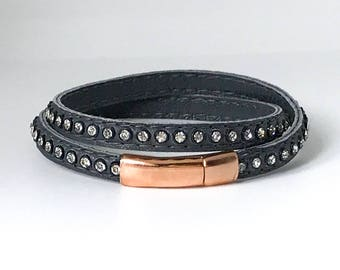 Dark Grey Leather Wrap Bracelet with Swarovski Crystals- finished with Rose Gold Magnetic Clasp
