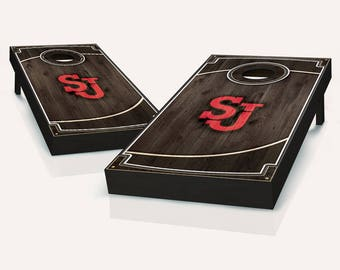 St John's Red Storm Wood Cornhole Set with Bags