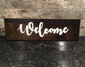 Handmade Wooden Welcome Sign