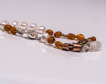 Perlenarm Necklace with Amber