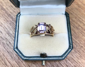 Vintage Retro Jewellery Emerald Cut Amethyst Paste and Gold Tone Costume Ring Size Adjustable