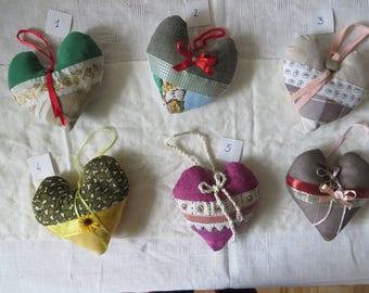 Heart hanging fabric, 100% handcrafted, handmade. Single model