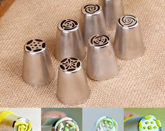 7Pcs Stainless Steel Wedding Cake Design Butter Cream Flower Decorating Tips Tulip Flower Icing Russian Piping Nozzle