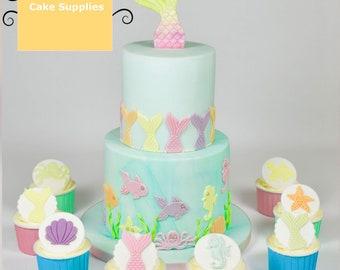 Mermaid tail Ocean Princess plastic fondant cutter cake mold fondant mold fondant cake decorating tools sugar craft