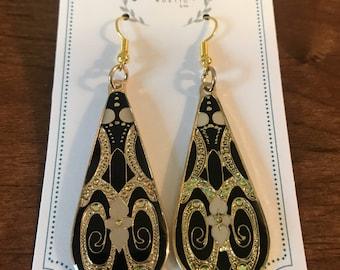 Flower Design Gold Drop Earrings