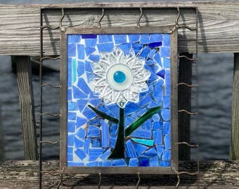 Stained Glass Mosaic Mirror with Glass DIsh