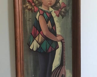 XL Vintage 60's Framed Harlequin Art Print by Eden