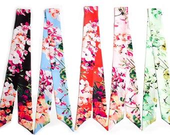 Bag Ribbon Scarf, Amazing Ribbon, Print Silk Scarf, Silk Ribbon, Flower Print Scarf