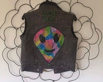 UpCycled 'Space Babe' Denim/Leather Panel Vest