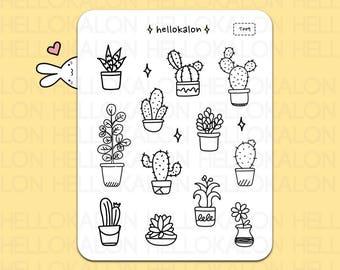 cactus and plants. color me stickers. decorative stickers. planner stickers. bullet journal stickers, erin condren (t009)