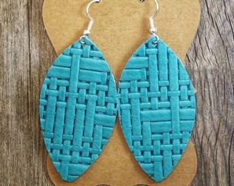 Turquoise Basket weave Leather Earrings